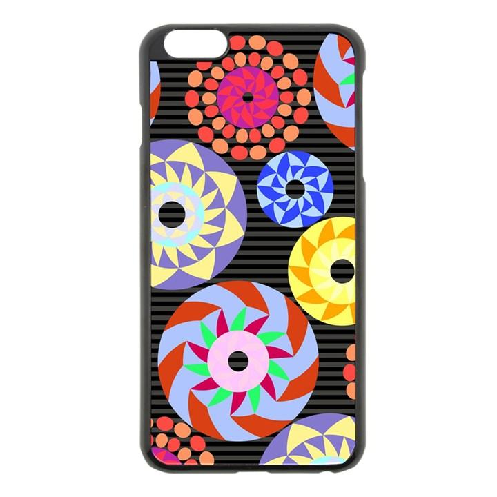 Colorful Retro Circular Pattern Apple iPhone 6 Plus/6S Plus Black Enamel Case