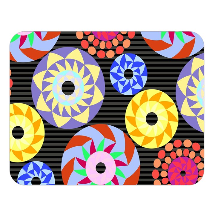 Colorful Retro Circular Pattern Double Sided Flano Blanket (Large)