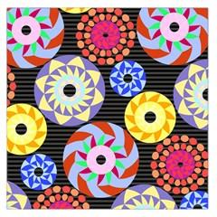Colorful Retro Circular Pattern Large Satin Scarf (Square)