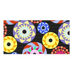 Colorful Retro Circular Pattern Satin Shawl