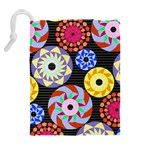Colorful Retro Circular Pattern Drawstring Pouches (Extra Large) Back
