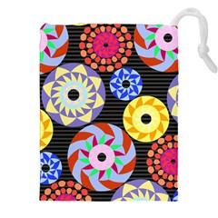 Colorful Retro Circular Pattern Drawstring Pouches (xxl) by DanaeStudio