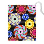 Colorful Retro Circular Pattern Drawstring Pouches (XXL)