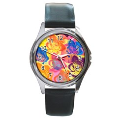 Pop Art Roses Round Metal Watch by DanaeStudio
