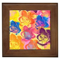 Pop Art Roses Framed Tiles by DanaeStudio