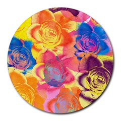 Pop Art Roses Round Mousepads by DanaeStudio