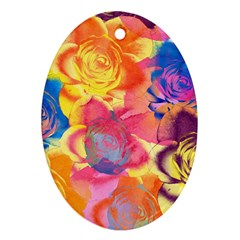 Pop Art Roses Ornament (oval)  by DanaeStudio