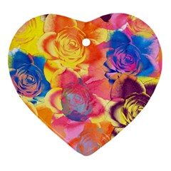 Pop Art Roses Ornament (heart)  by DanaeStudio