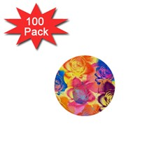 Pop Art Roses 1  Mini Buttons (100 Pack)