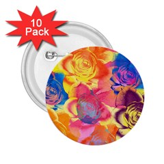 Pop Art Roses 2 25  Buttons (10 Pack)