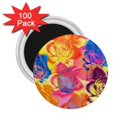 Pop Art Roses 2 25  Magnets (100 Pack)  by DanaeStudio