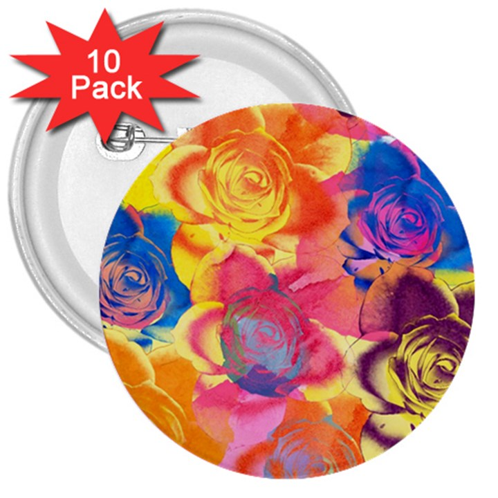 Pop Art Roses 3  Buttons (10 pack)