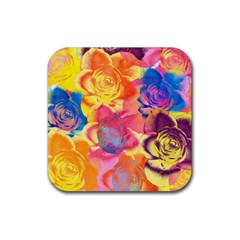 Pop Art Roses Rubber Coaster (square)  by DanaeStudio