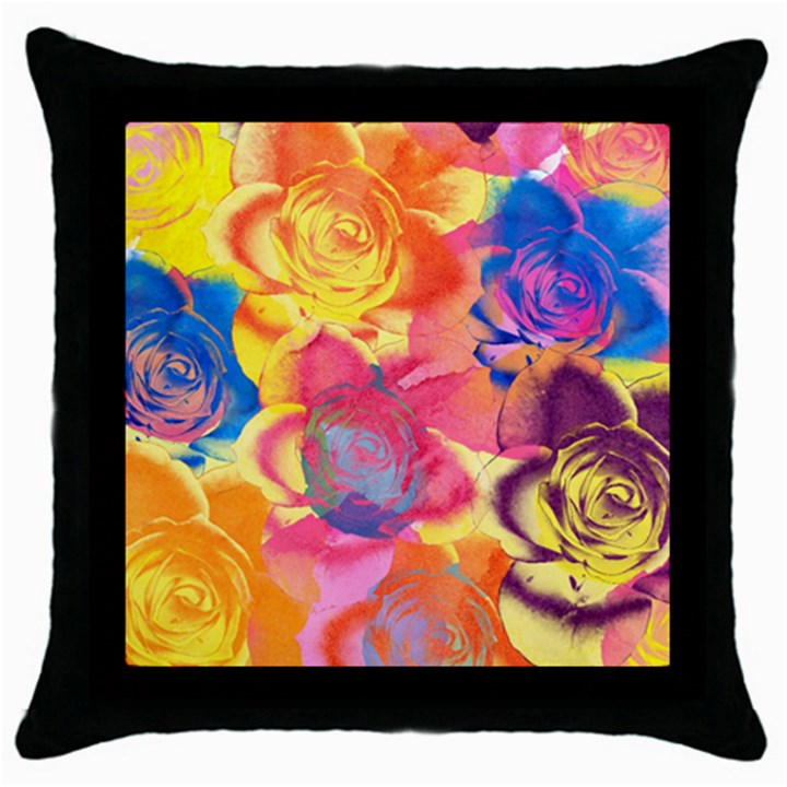 Pop Art Roses Throw Pillow Case (Black)
