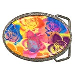 Pop Art Roses Belt Buckles Front