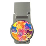 Pop Art Roses Money Clips (Round)  Front