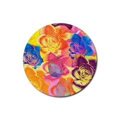 Pop Art Roses Rubber Coaster (round)  by DanaeStudio
