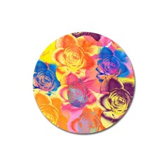 Pop Art Roses Magnet 3  (round) by DanaeStudio