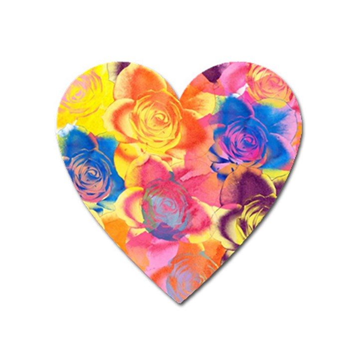 Pop Art Roses Heart Magnet