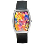 Pop Art Roses Barrel Style Metal Watch Front