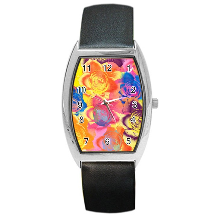 Pop Art Roses Barrel Style Metal Watch