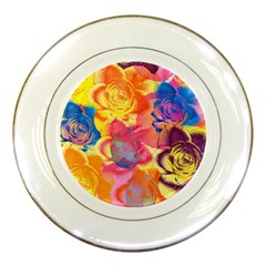 Pop Art Roses Porcelain Plates by DanaeStudio