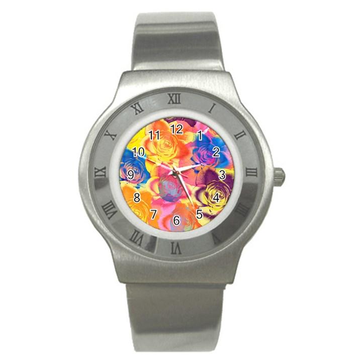 Pop Art Roses Stainless Steel Watch