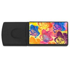 Pop Art Roses Usb Flash Drive Rectangular (4 Gb)  by DanaeStudio