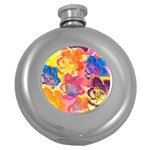 Pop Art Roses Round Hip Flask (5 oz) Front