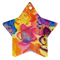 Pop Art Roses Star Ornament (two Sides)