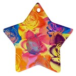 Pop Art Roses Star Ornament (Two Sides)  Front