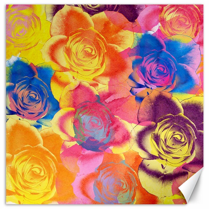 Pop Art Roses Canvas 16  x 16