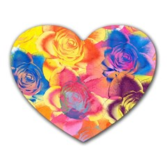 Pop Art Roses Heart Mousepads by DanaeStudio