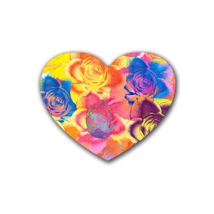 Pop Art Roses Heart Coaster (4 pack)