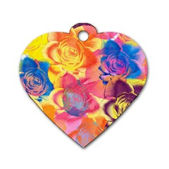 Pop Art Roses Dog Tag Heart (one Side) by DanaeStudio