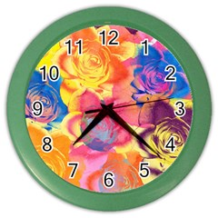 Pop Art Roses Color Wall Clocks by DanaeStudio