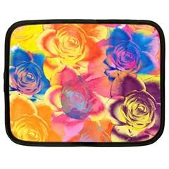 Pop Art Roses Netbook Case (large) by DanaeStudio