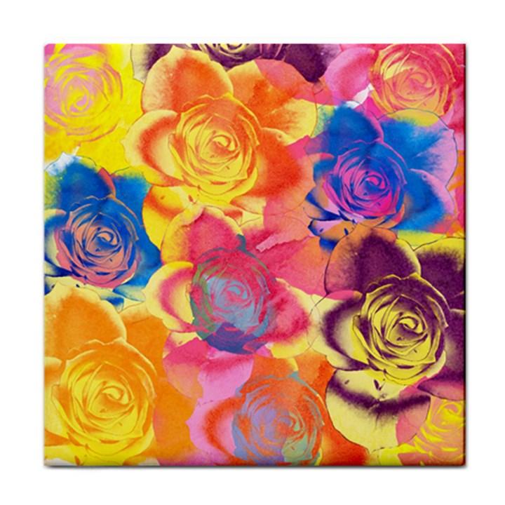 Pop Art Roses Face Towel