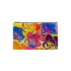 Pop Art Roses Cosmetic Bag (small)  by DanaeStudio
