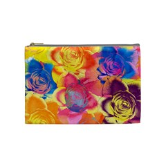 Pop Art Roses Cosmetic Bag (medium)  by DanaeStudio