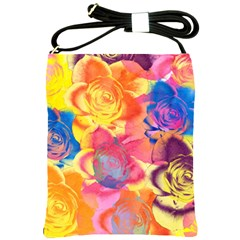 Pop Art Roses Shoulder Sling Bags by DanaeStudio