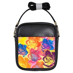 Pop Art Roses Girls Sling Bags by DanaeStudio