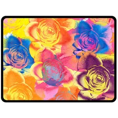 Pop Art Roses Fleece Blanket (large)  by DanaeStudio