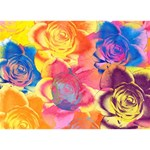 Pop Art Roses Heart 3D Greeting Card (7x5) Back