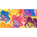 Pop Art Roses Twin Hearts 3D Greeting Card (8x4) Back