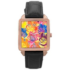 Pop Art Roses Rose Gold Leather Watch  by DanaeStudio