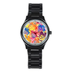 Pop Art Roses Stainless Steel Round Watch by DanaeStudio