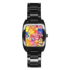 Pop Art Roses Stainless Steel Barrel Watch
