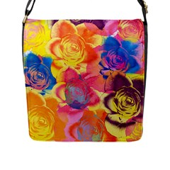Pop Art Roses Flap Messenger Bag (l)  by DanaeStudio