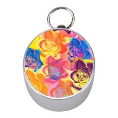 Pop Art Roses Mini Silver Compasses
